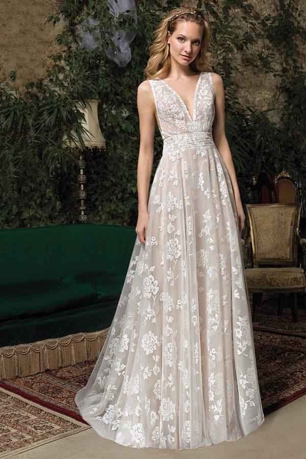 Cosmobella 7964 | Vintage Boho Chic Brautkleid | Hochzeitskleid Fit and Flair | Brautmode Köln Anna Moda